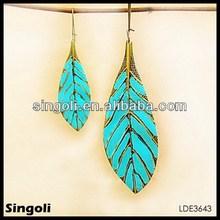 ELEGANT enamel turquoise leave alloy DANGLE Earrings 2014 ebay earring elegant dangle fashion earrings for women jewelry