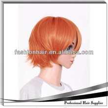 cosplay orange hair wig brazilian remy hair skin wefts