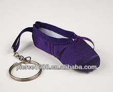 wholesale custom mini purple ballet dance shoe keychain