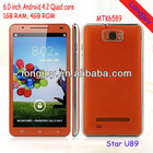 High quality Star U89 Mtk6589 Smart Phone Quad Core Dual Sim 6 Inch Rom 4GB Ram 1GB Cell Phone