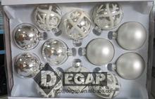 65MMX12CT GLASS BALL CHRISTMASS ORNAMENT FOR HOME DECORATION-SILVER ASST