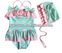 Summer boutique kids girls swimwear aqua pink polka dot cute baby fashion swimwear bikini model
