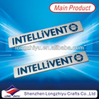 Zinc alloy shiny chrome metal company logo nameplate,casting nameplate label plate emblem,3M self adhesive foam product badges