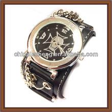 Black Leather Bracelet Watch For Male(LCLB-0194)