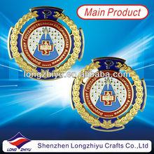 Shiny gold zinc alloy metal nameplates emblem,round souvenir golden badge plate medal award medallion coin maker