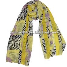 2014 fashion zebra stripe print chiffon shawl