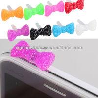cute bowknot earphone dust plug for smart phone