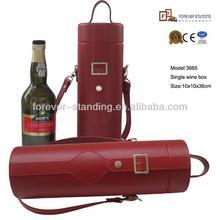 convenient 1 bottle leather wine carrier with shoulder strap