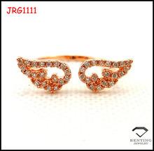 Brass zircon micro pave wing ring