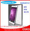 5.5 inch IPS 14MP camera OTG NFC air gesture 1GB RAM 16GB ROM octa core mtk6592 dual sim mobile phone 4g