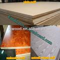 Grano de madera de chapa de madera mdf, en relieve de tableros mdf, mdf 17mm