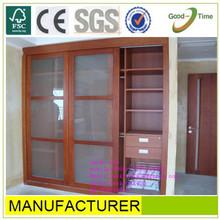 wooden grain color melamined MDF / chipboard sliding door wardrobe,glass door wardrobe ,bedroom furniture sets