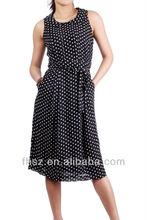 beautiful lady new fshion Black & white sleeveless dot long dress with pocket