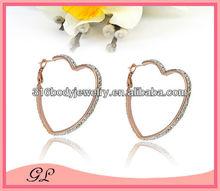 rose gold crystal heart shape hook earring