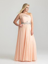 Graceful One Shoulder Evening Prom Dress For Fat Woman With Appliques Girls Dress For Party 2014 New Fashion With Crystal
