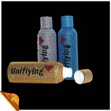 De mayor venta de calor de encargo Logo Rhinestone decorativo botella con los Rhinestones fabricante