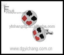 Men's Stainless Steel cufflinks with colored playing card symbols