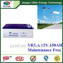 Popular!12V 150AH gel used in solar street system recycled batteries
