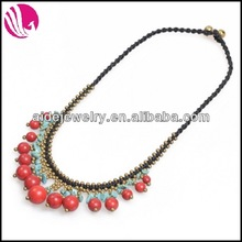 Pave stones necklace round ruby beads bell necklace for ladies and womens