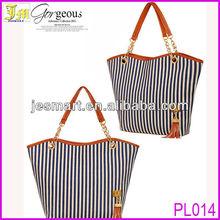 2013 Latest Design Women's Handbag Stripe Canvas Bag Chain Tassel Hangings Handbag Fashion Bag