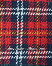 new design multicolored red white blue black yellow check tartan woven wool fabric