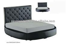 luxury king size round bed with gas lift storage Y250 / black leather round storage bed Y250