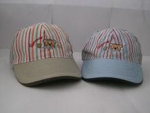 children striped 6 panel embroidered cotton baseball cap