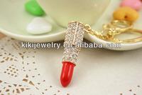 gift for girls sparkling lipstick charms keyring