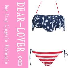 2014 sexy sexy de la moda borla cinta para el pelo de la bandera americana bikini ropa de playa