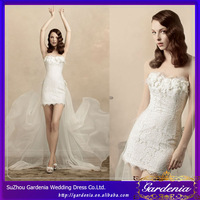 New Arrival 2014 Sheath Strapless Flowers Lace Tight Sexy Short Wedding Dresses