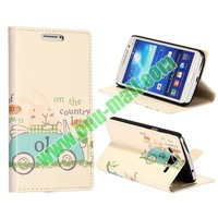 Cute Cartoon Car Pattern Wallet Style Flip Stand Leather Case for Samsung Galaxy Grand with Card Slots