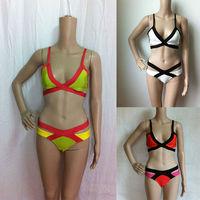 Fashion sexy high waisted two piece swimsuit bandage bikini for women 2015