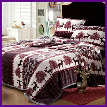flannel /coral fleece printed quilt cover set
