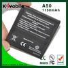 Wholesale Price Cell Phone Battery A50 battery for HTC GarminFone Garmin A50 Bateria Batterie AKKU Accumulator