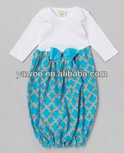 Newborn infant ruffle bottom custom layette quatrefoil gown kids long sleeve elegant night gown
