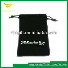 Black microfiber camera bag with drawstring