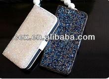Wholesale - Luxury Full Diamond Flip Leather Case for iphone5
