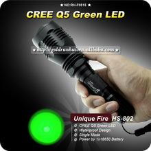GoldRunhui RH-F0516 Uniquefire HS-802 Q5 Green Led Hunting Flashlight