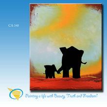 Elephant cartoon animal oil painting for kids room handpainted