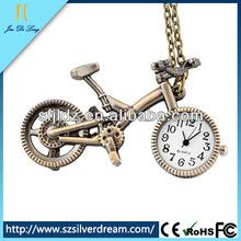 Corea del estilo de la historieta de la bicicleta reloj del collar del reloj Vintage venta al por mayor reloj de bolsillo
