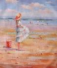 Handmade beach nude girl oil painting