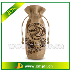 High Quality Recycled Single Bottle Jute Wine Tote Bag