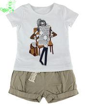 OEM apparel manufacturer girls t-shirt and casual shorts clothing set 2014 brand design children clothes set export garment