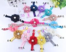 Baby girls Stretchy Elastic Baby Soft Headband with chiffon flower