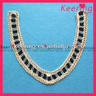 gold lace beaded hook neckline trim crochet dress WSG-022