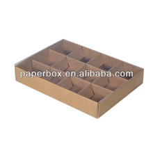 12 Pack Chocolate Box kraft inserts clear lid box