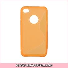 High Transparent Glue Cover Skin Case for iphone 4G Orange