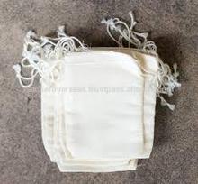 cotton muslin bag with drawstring and custom pingrint