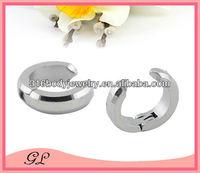 stainless steel fake piercing earring clip on feather earrings