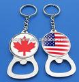 canadá y estados unidos bandera de logotipo en la botella de metal abridor de llavero